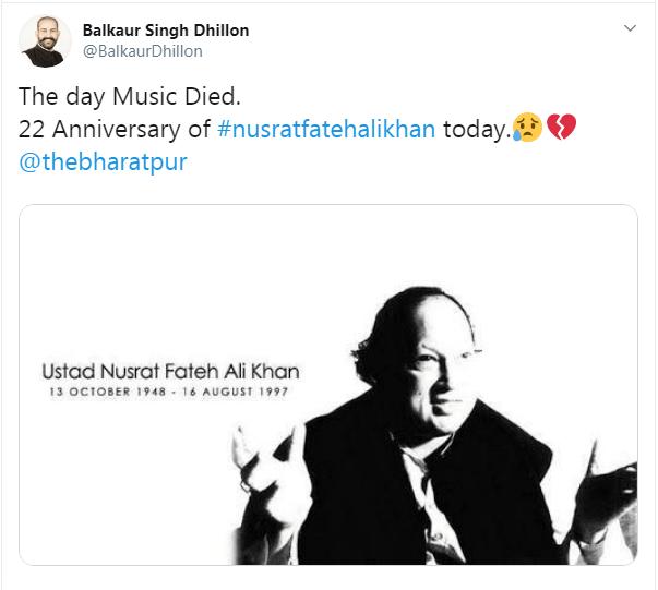16th August marks the death anniversary of Nusrat Fateh Ali Khan