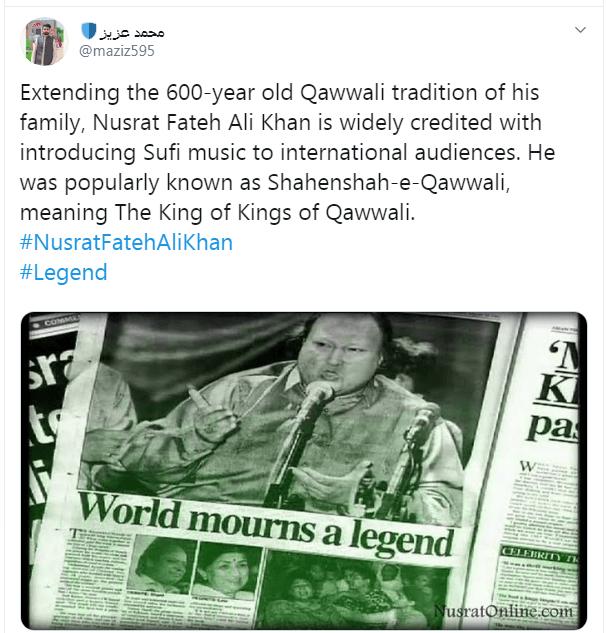 Nusrat Fateh Ali Khan revolutionized Qawwali through his voice.