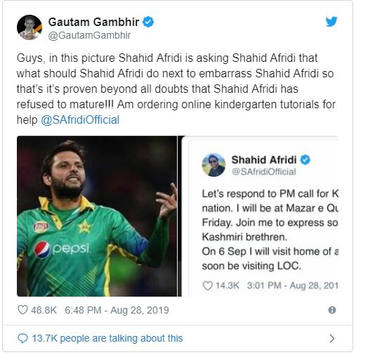 Shahid Afridi trolls Gautam Gambhir