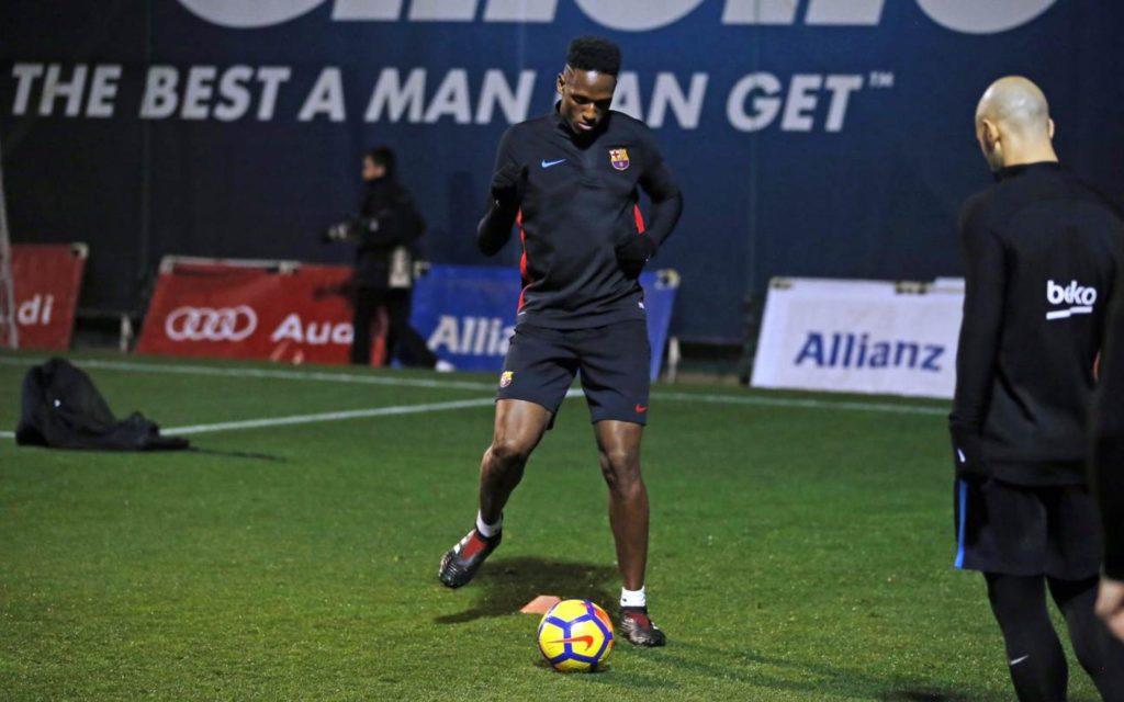 Yerry Mina during training.